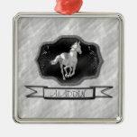 Caballo de plata adorno cuadrado plateado