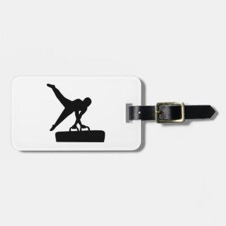 Caballo de pomo de espada del gimnasta etiquetas bolsas