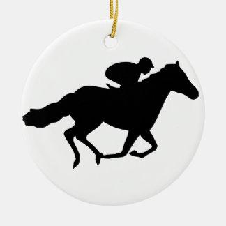 Caballo de raza adorno navideño redondo de cerámica