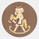 Caballo de Rockin del vaquero del bebé de los Etiquetas Redondas