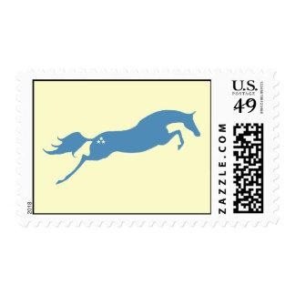 Caballo de salto azul franqueo