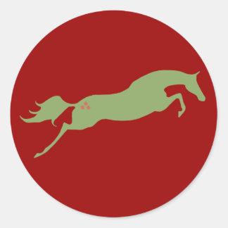 Caballo de salto del navidad pegatina redonda
