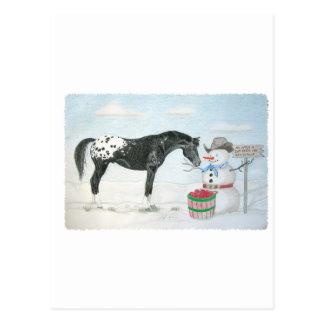 Caballo del Appaloosa con el muñeco de nieve, rect Postales