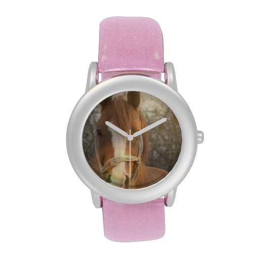 Caballo del árabe de la castaña reloj de mano
