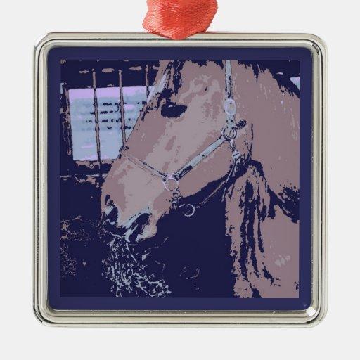 Caballo del arte pop adorno navideño cuadrado de metal