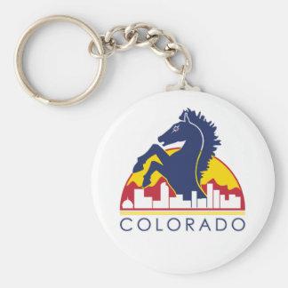 Caballo del azul de Colorado Llavero Redondo Tipo Pin