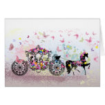 Caballo del boda y flores y mariposas del carro tarjeta