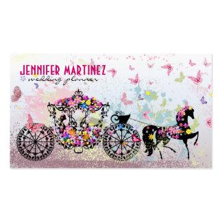 Caballo del boda y flores y mariposas del carro tarjetas de visita