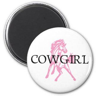 Caballo del Bronc de la vaquera (versión rosada de Imán De Frigorífico