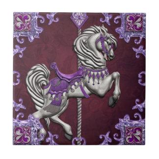 Caballo del carrusel, alegría Amethyst Azulejos Cerámicos