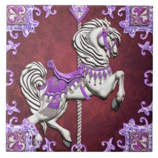 Caballo del carrusel, alegría Amethyst - baldosa c Azulejo Cerámica