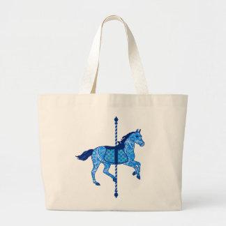 Caballo del carrusel - azul del cobalto y de cielo bolsa tela grande