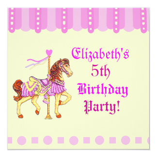 """Caballo del carrusel de la fiesta de cumpleaños invitación 5.25"""" x 5.25"""""""