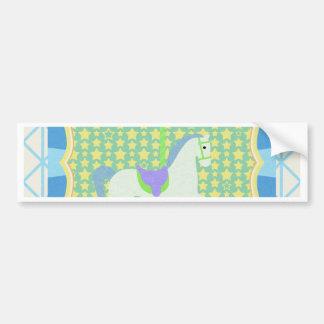 Caballo del carrusel en azul, verde, amarillo, y pegatina para auto