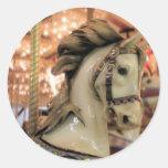 caballo del carrusel etiqueta redonda