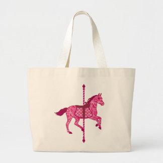 Caballo del carrusel - rosa del fucsia bolsa tela grande