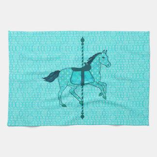 Caballo del carrusel - turquesa y aguamarina toallas de cocina