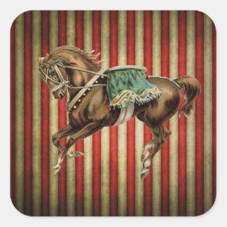 caballo del circo del vintage pegatinas cuadradas personalizadas