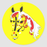 caballo del cráneo del azúcar pegatina redonda