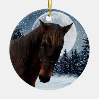 Caballo del cuartel de invierno adorno navideño redondo de cerámica