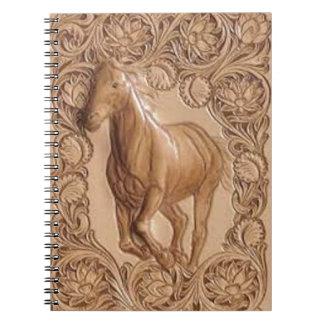 caballo del cuero del país occidental del vintage libros de apuntes con espiral