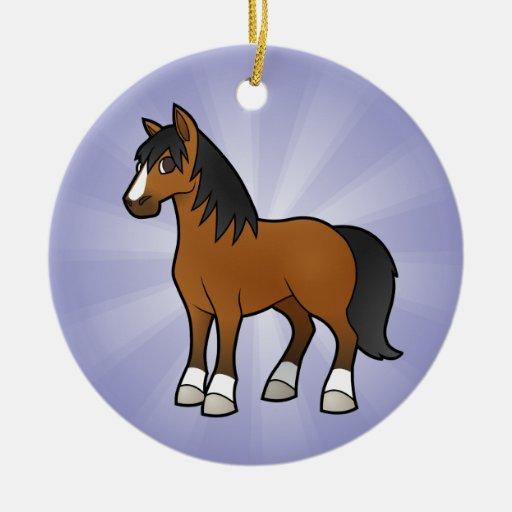 Caballo del dibujo animado adorno navideño redondo de cerámica