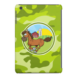 Caballo del dibujo animado; camo verde claro, funda de iPad mini