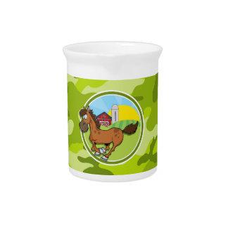 Caballo del dibujo animado camo verde claro jarra