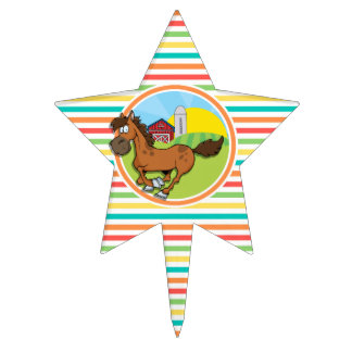 Caballo del dibujo animado; Rayas brillantes del Decoración Para Tarta