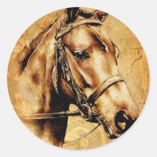 Caballo del fineart F049 del vintage Pegatina Redonda