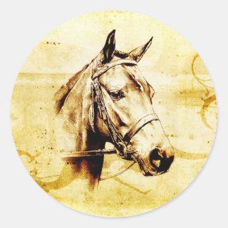 Caballo del fineart F075 del vintage Pegatina Redonda