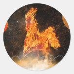 caballo del fuego pegatina redonda