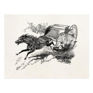 Caballo del fugitivo del vintage con los caballos tarjeta postal