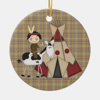 Caballo del indio del nativo americano de la adorno navideño redondo de cerámica