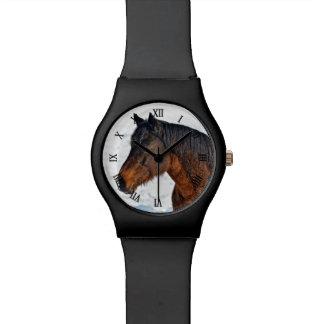 """Caballo del invierno de la bahía """"año foto equina  reloj de mano"""