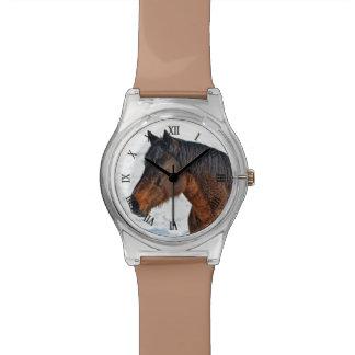 """Caballo del invierno de la bahía """"año foto equina  relojes"""
