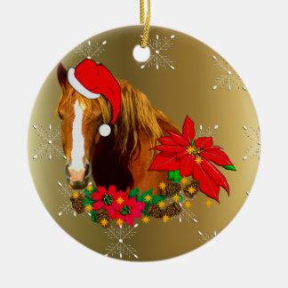 Caballo del navidad adorno navideño redondo de cerámica