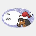 Caballo del navidad pegatina ovalada