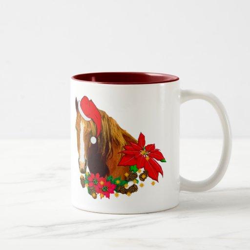 Caballo del navidad taza de café de dos colores