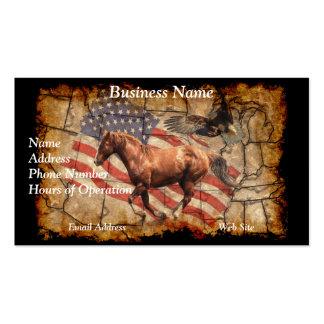"""Caballo del oeste del """"título"""", Eagle y bandera de Tarjetas De Visita"""