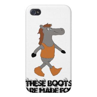 Caballo del país del dibujo animado en botas iPhone 4 fundas