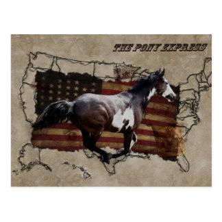 Caballo del Pinto de Pony Express que entrega el Postales