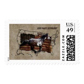 Caballo del Pinto de Pony Express que entrega el Sellos