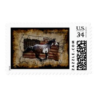 Caballo del Pinto de Pony Express que entrega el Timbre Postal
