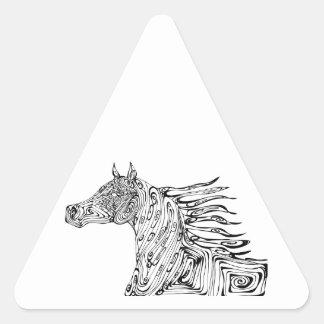 caballo del remolino pegatina triangular