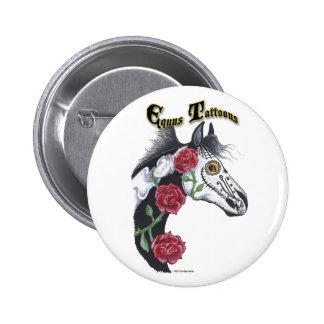 Caballo del tatuaje (Equus Tattoous) Pin Redondo 5 Cm