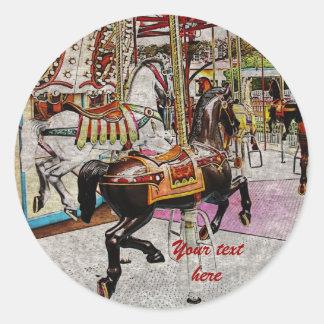 caballo del tiovivo del vintage etiquetas redondas