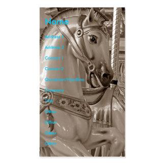 Caballo del tiovivo en sepia tarjetas de visita