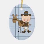 Caballo del vaquero del bebé de la colección del n ornaments para arbol de navidad