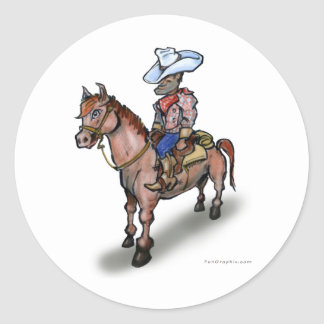 Caballo del vaquero n pegatina redonda
